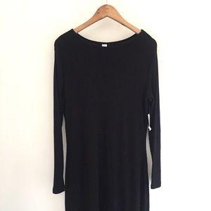 Old Navy Black Ribbed Long Sleeve Dress SZ L